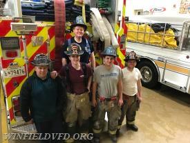 The Crew From Engine 141 (from Left to right)  EMS Lt. L. Logue-Ruckman, Firefighter/EMT J. Marlatt, EMS Lt. C. Broussard, EMS Lt. T. Gaigalas, Firefigher A. Broussard, E141 Driver K.Stull behind the camera